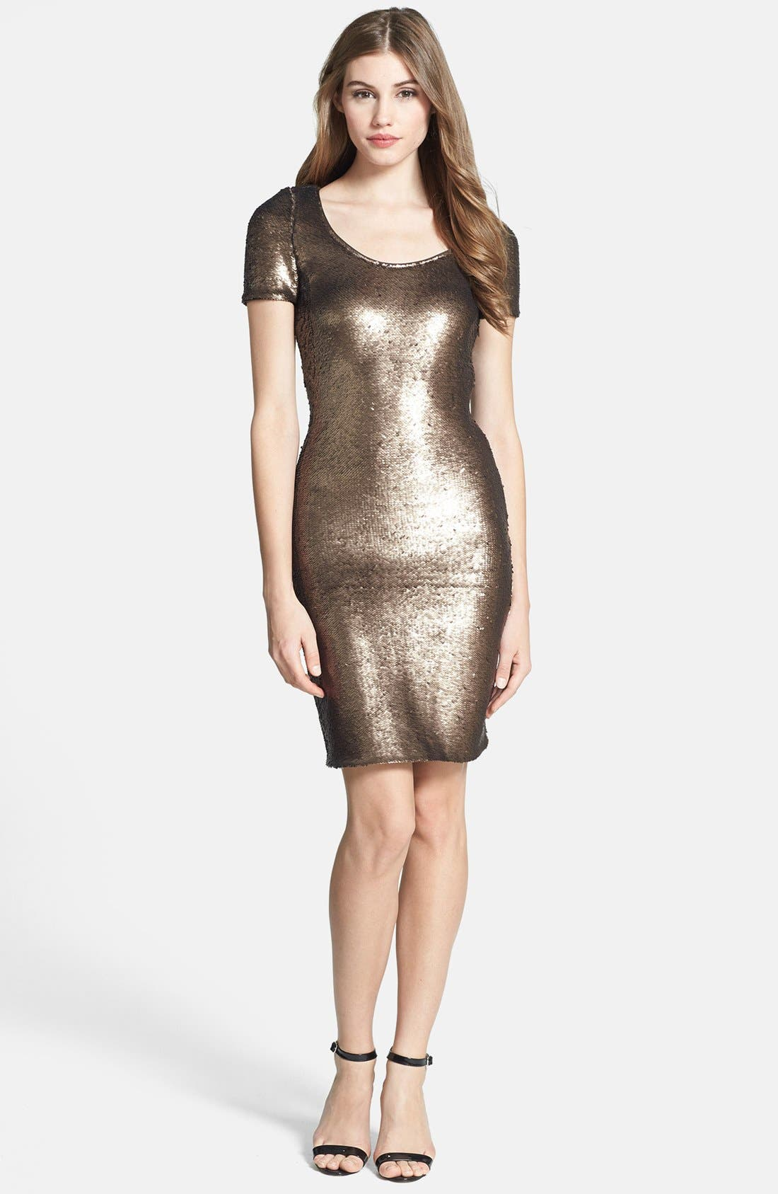 Alternate Image 1 Selected - Halston Heritage Short Sleeve Sequin Dress