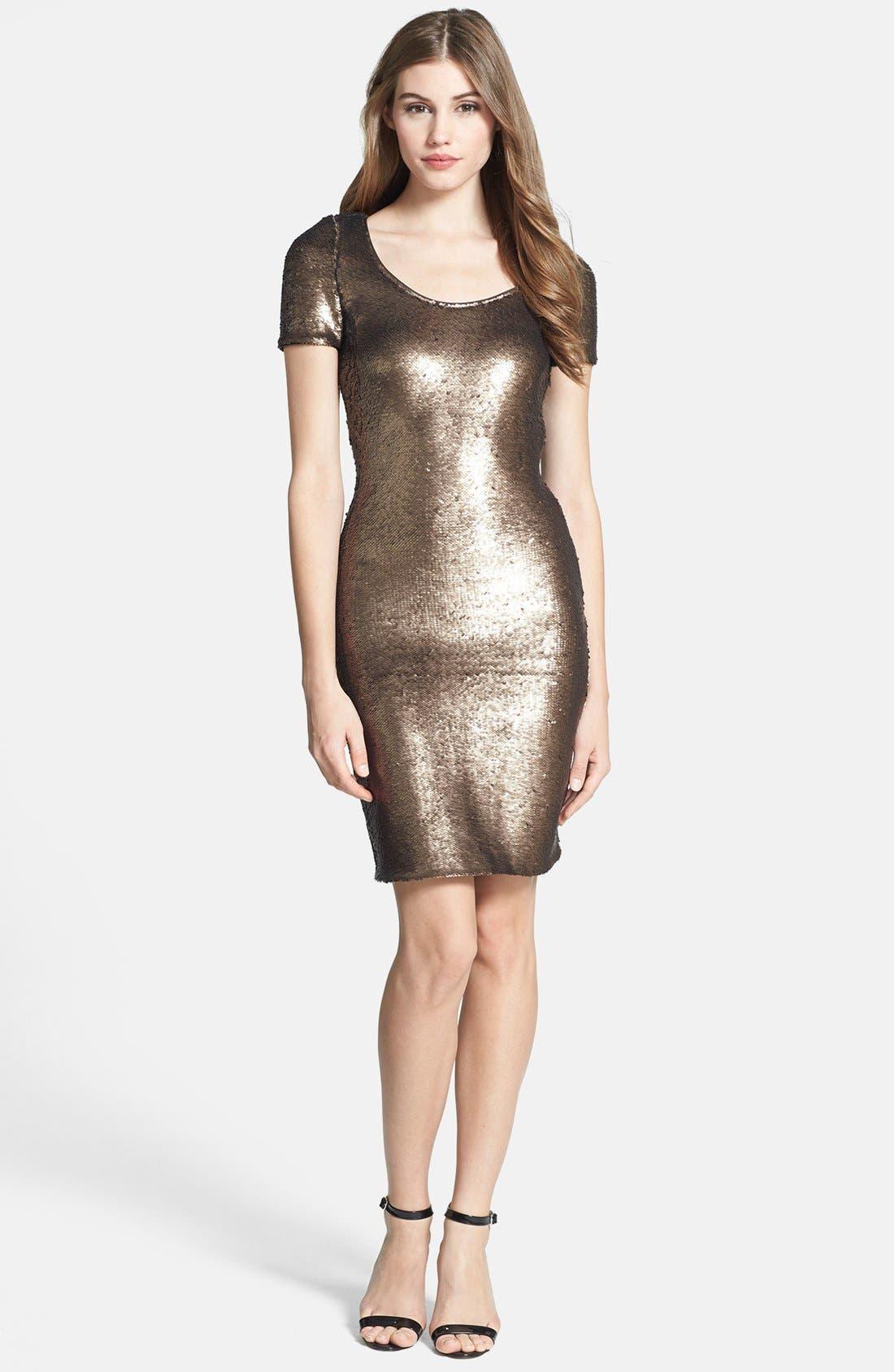 Main Image - Halston Heritage Short Sleeve Sequin Dress
