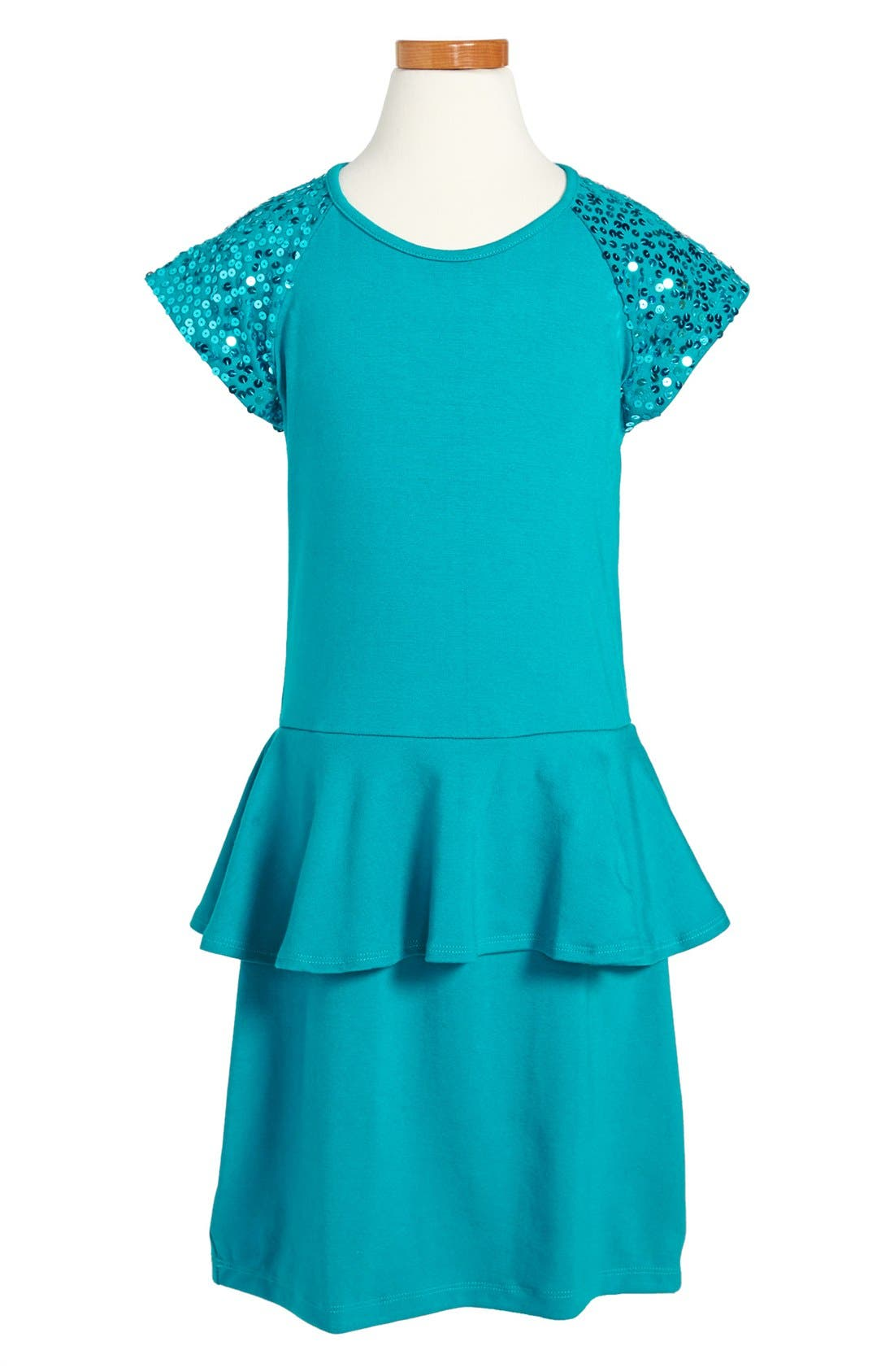 Main Image - Flowers by Zoe Sequin Sleeve Peplum Dress (Big Girls)