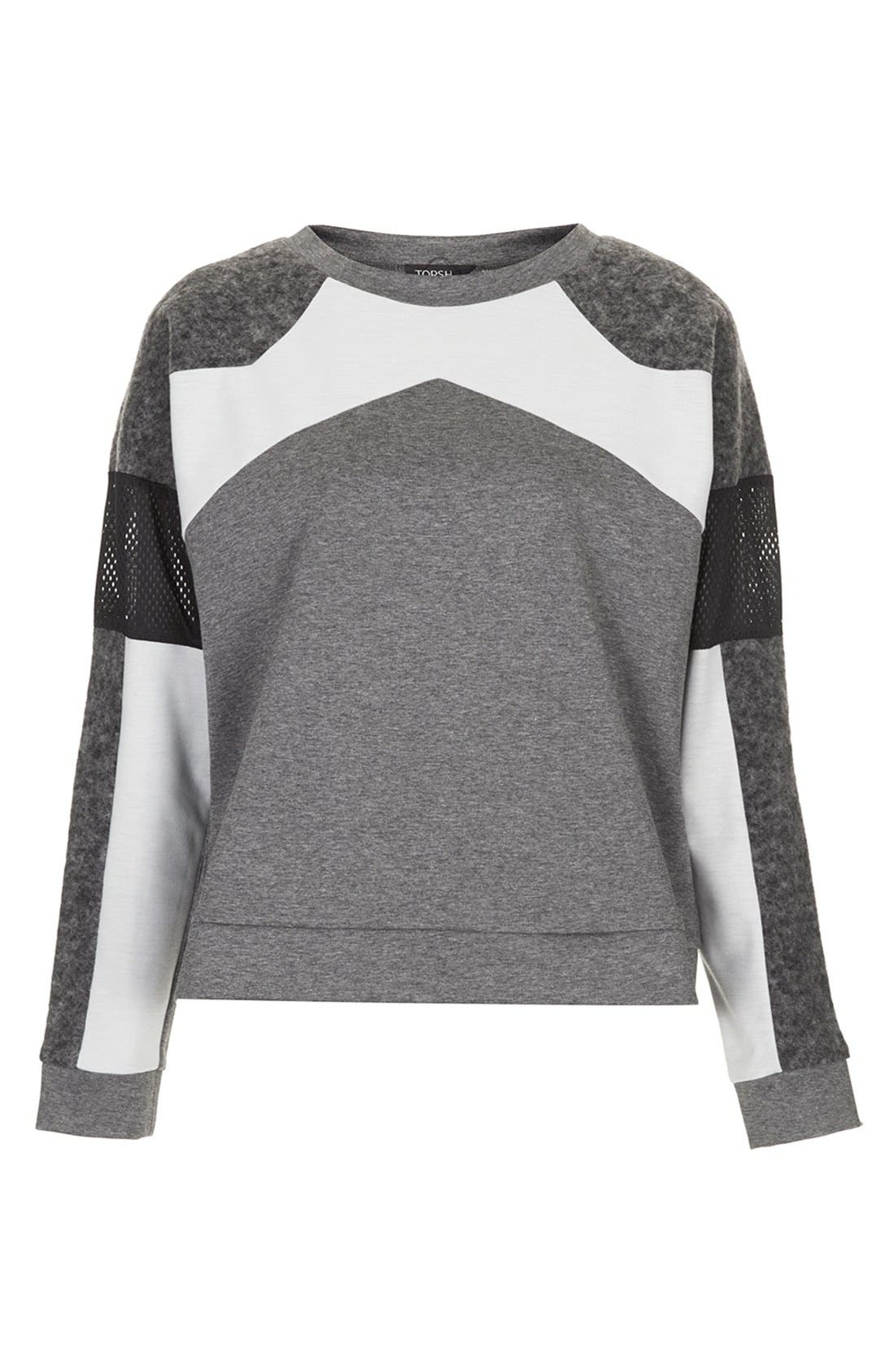 Alternate Image 3  - Topshop Perforated Mixed Media Sweatshirt