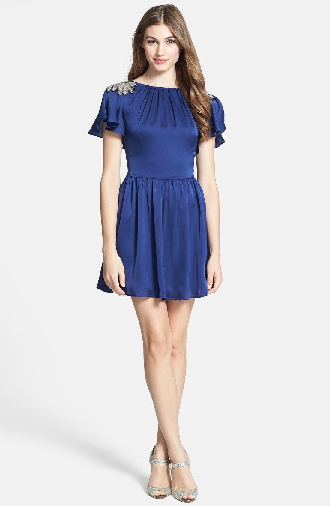 Alternate Image 3  - Jarlo Embellished Satin Fit & Flare Dress