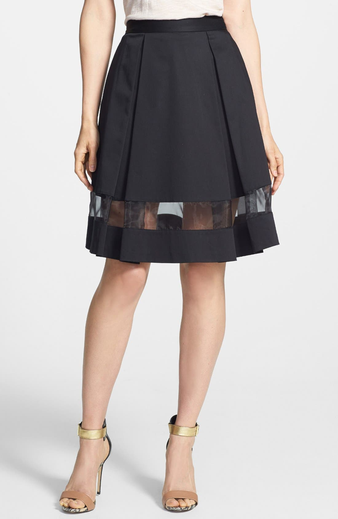 Main Image - Vince Camuto Sheer Inset Pleated Skirt