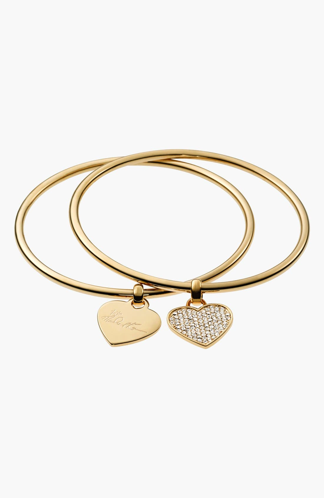 Main Image - Michael Kors Boxed Heart Charm Bangles (Set of 2)