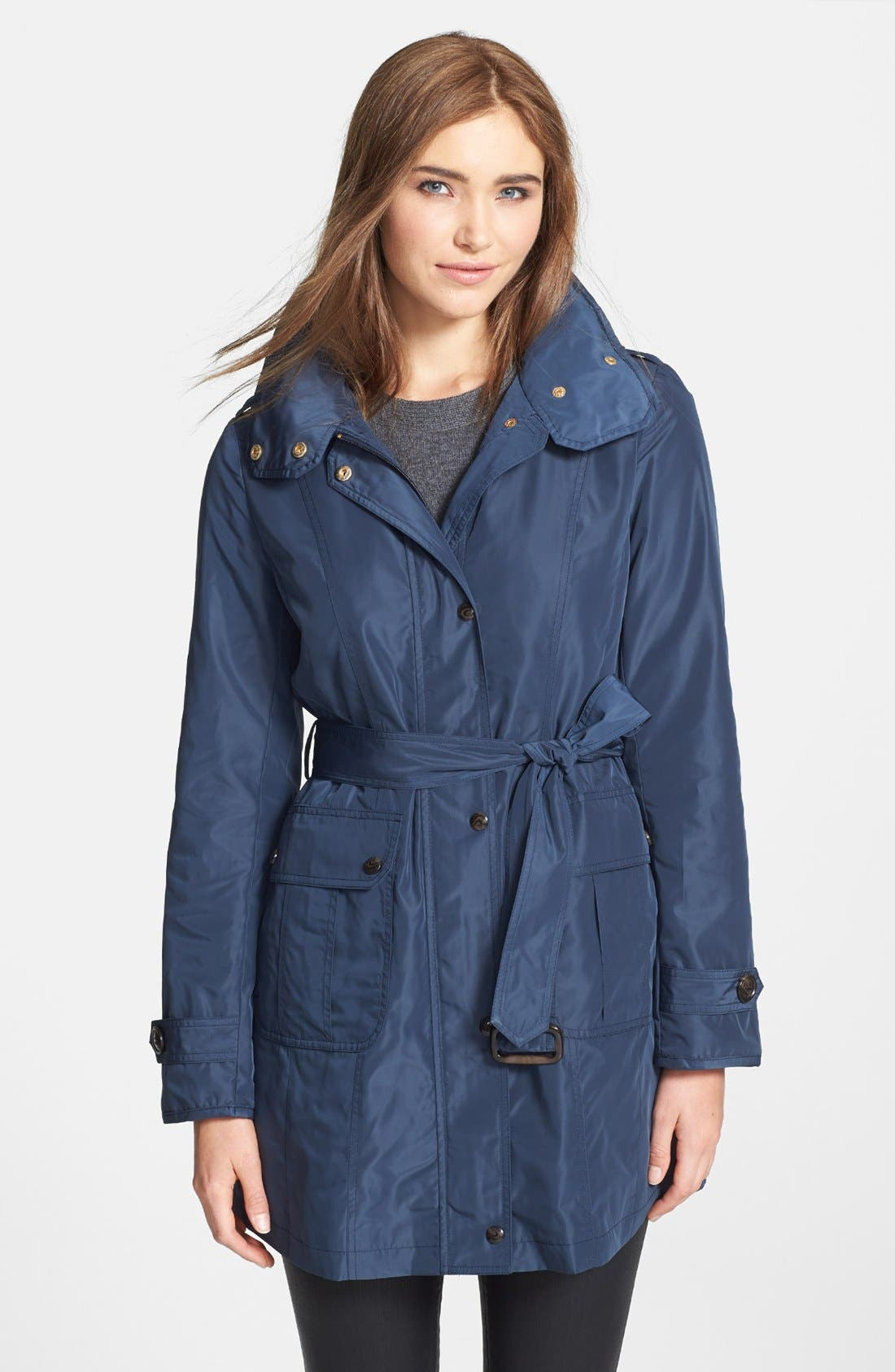 Alternate Image 1 Selected - Ellen Tracy Belted Techno Raincoat (Online Only)