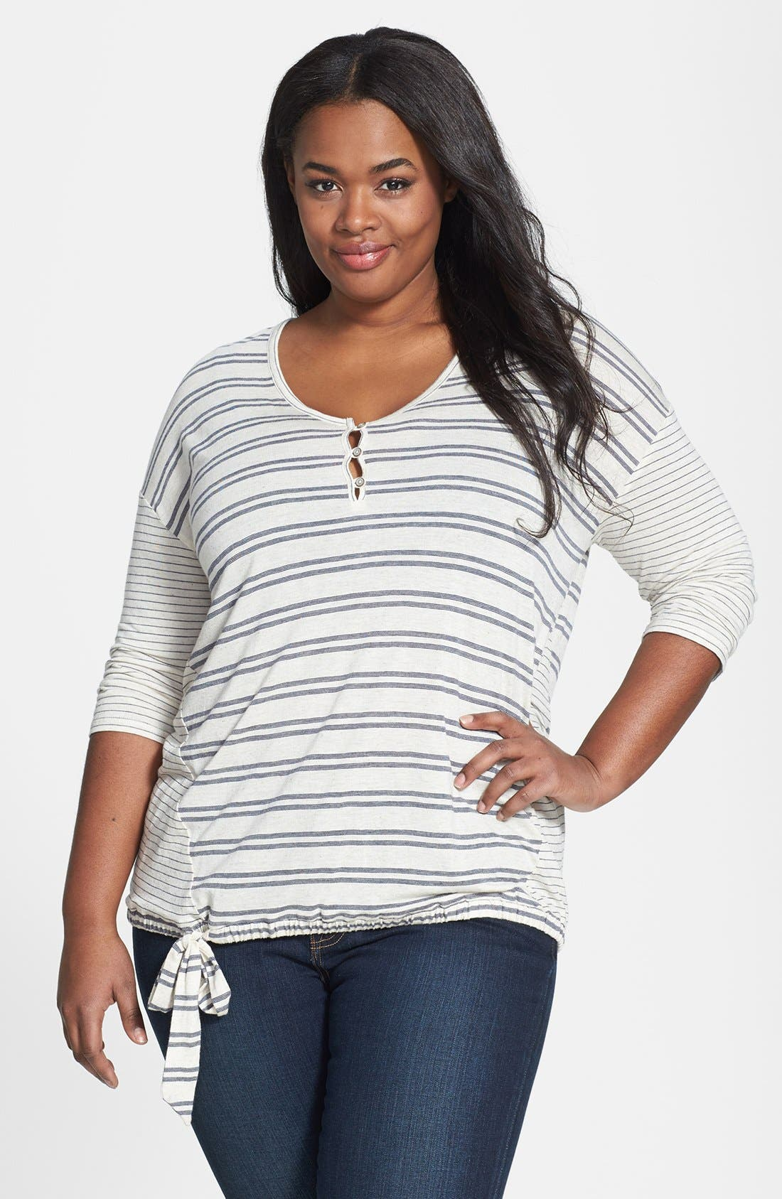 Alternate Image 1 Selected - Lucky Brand Stripe Tie Front Top (Plus Size)