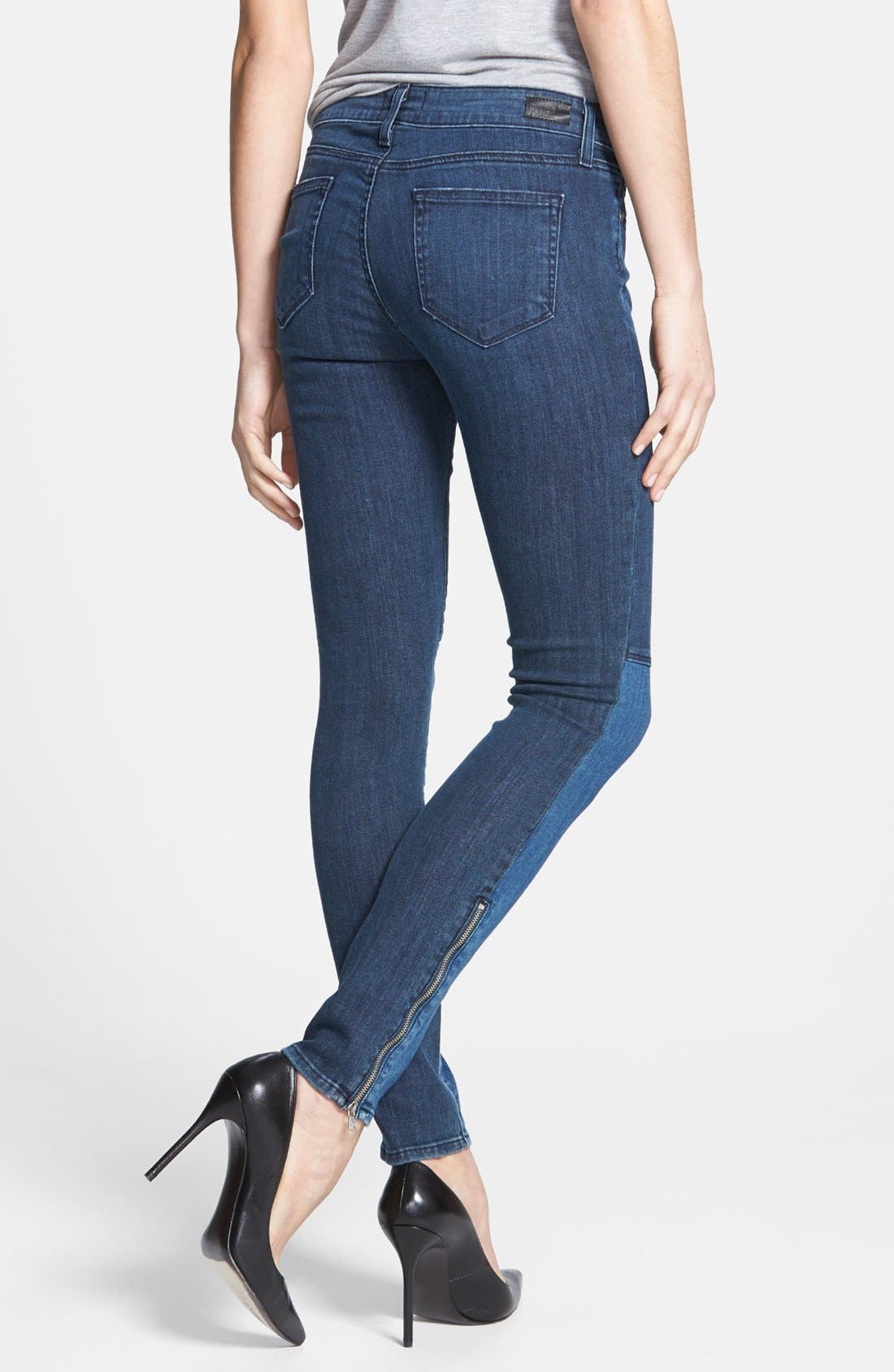 Alternate Image 2  - Paige Denim 'Cara' Patchwork Ultra Skinny Jeans (Coastal)
