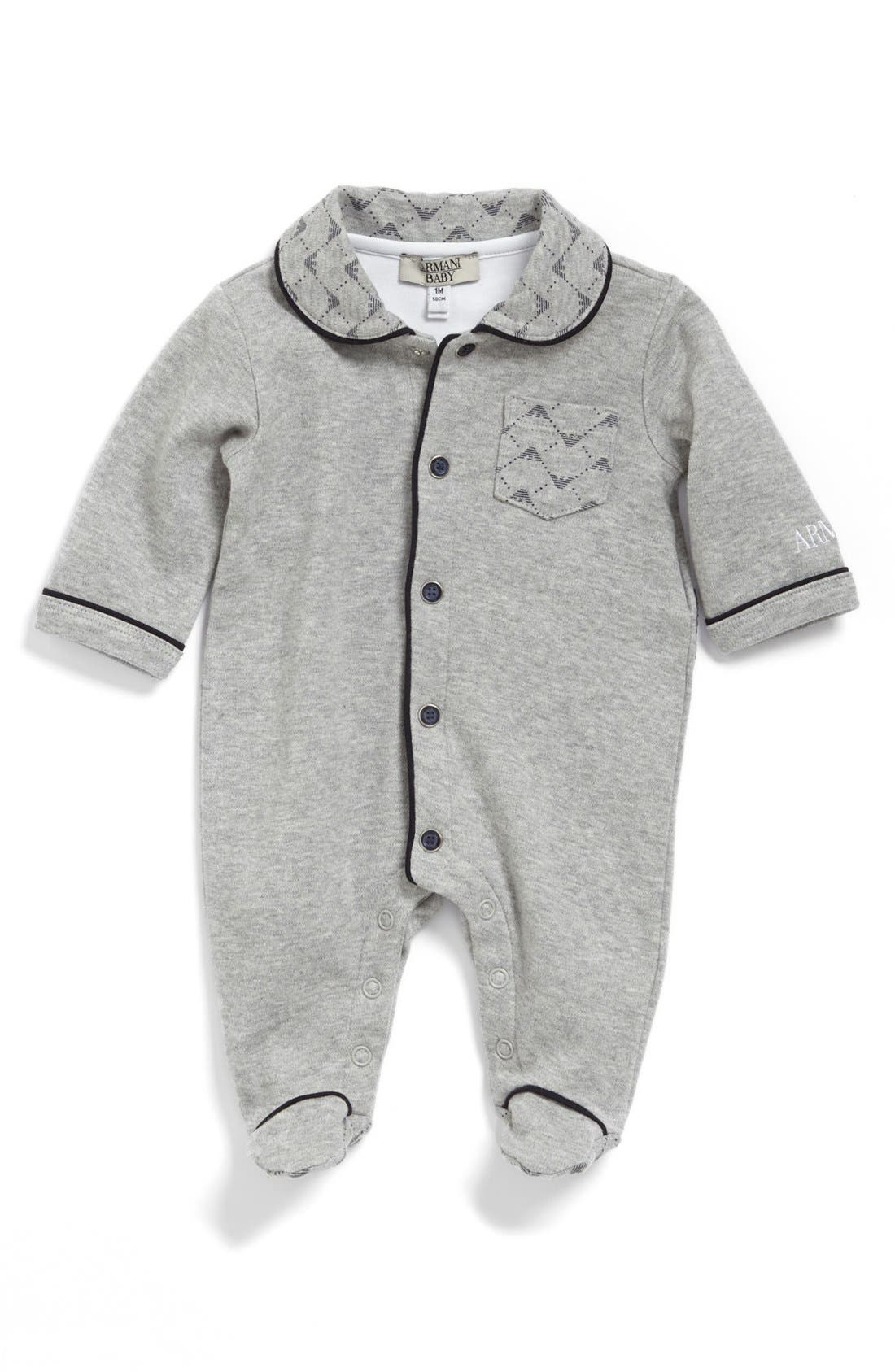 Alternate Image 1 Selected - Armani Junior Logo Collar One-Piece (Baby)