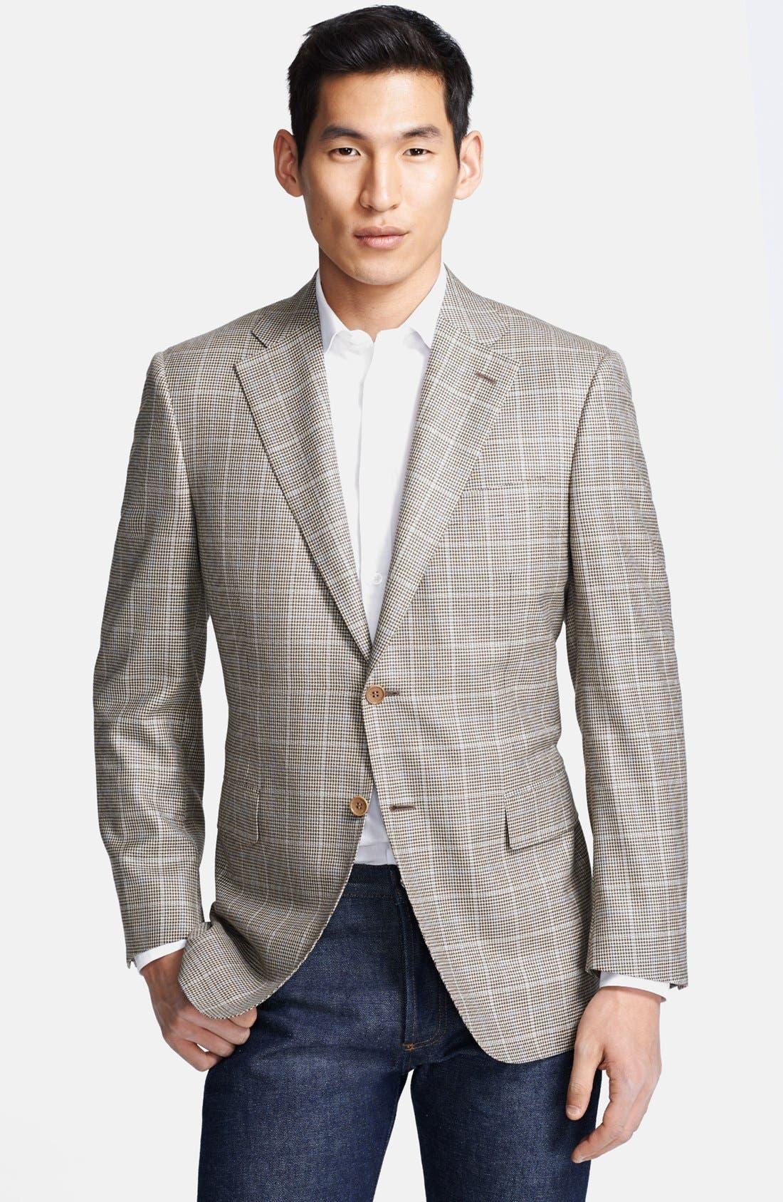 Main Image - Canali Classic Fit Silk Blend Plaid Sportcoat