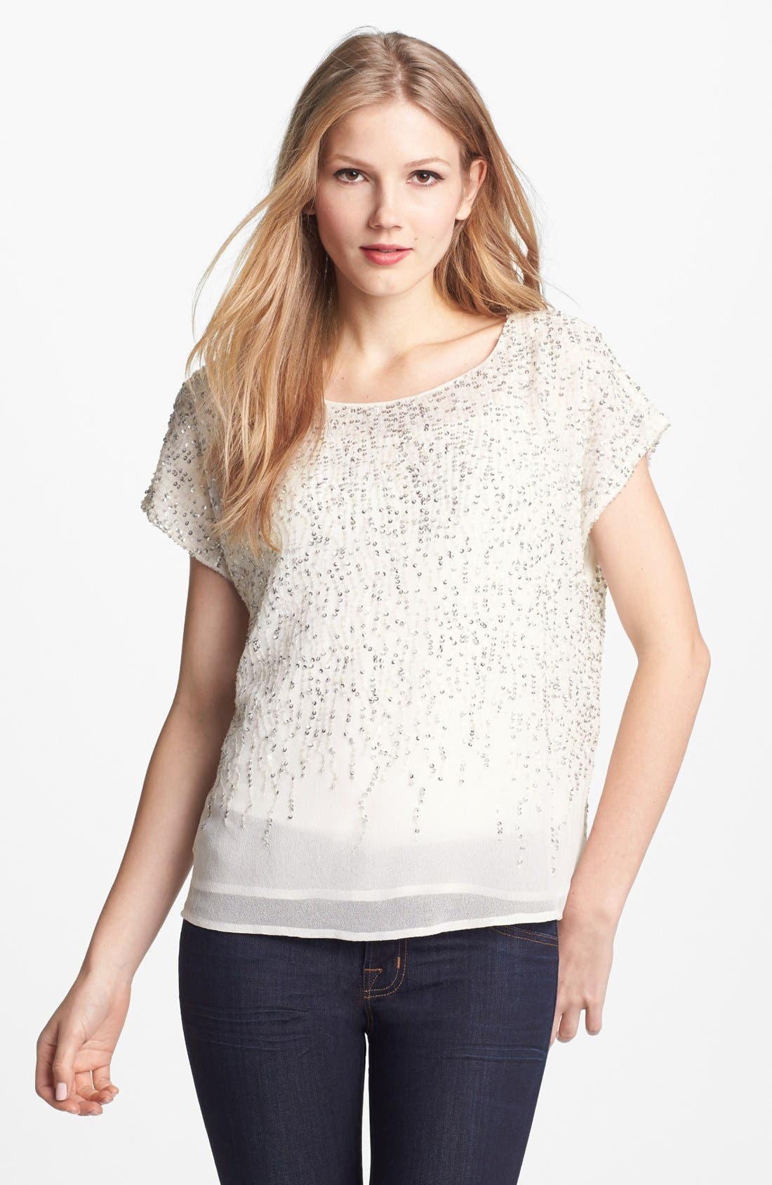 Alternate Image 1 Selected - Vince Camuto 'Flower Fields' Short Sleeve Sequin Blouse