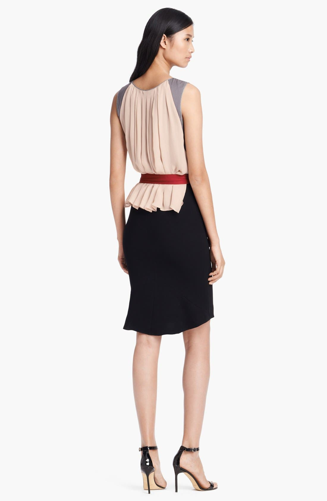 Alternate Image 2  - L'AGENCE Pleated Silk Dress with Sash