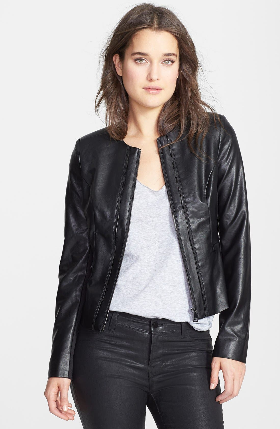 Collarless Faux Leather Jacket,                             Main thumbnail 1, color,                             Black