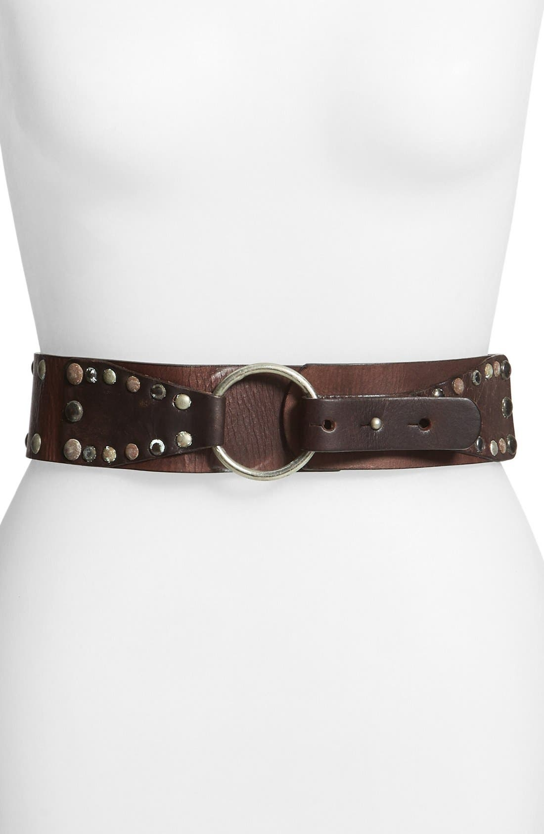 Alternate Image 1 Selected - CK Calvin Klein Jeans Studded Leather Belt