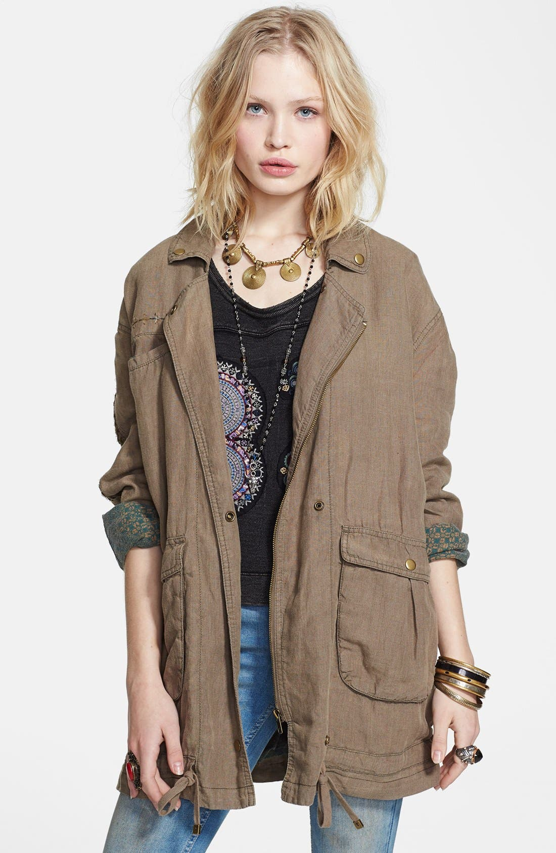 Main Image - Free People Embroidered Linen Cargo Jacket