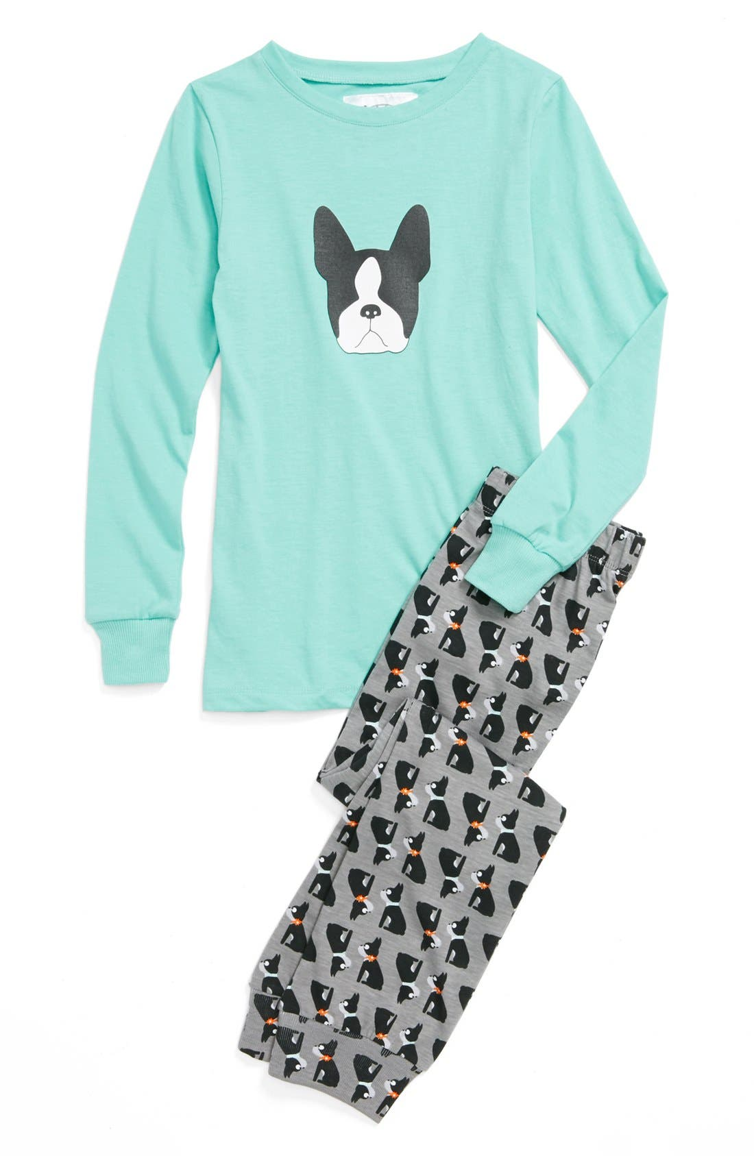 Aegean Apparel 'Boston Terrier' Two-Piece Fitted Pajamas (Big Girls)