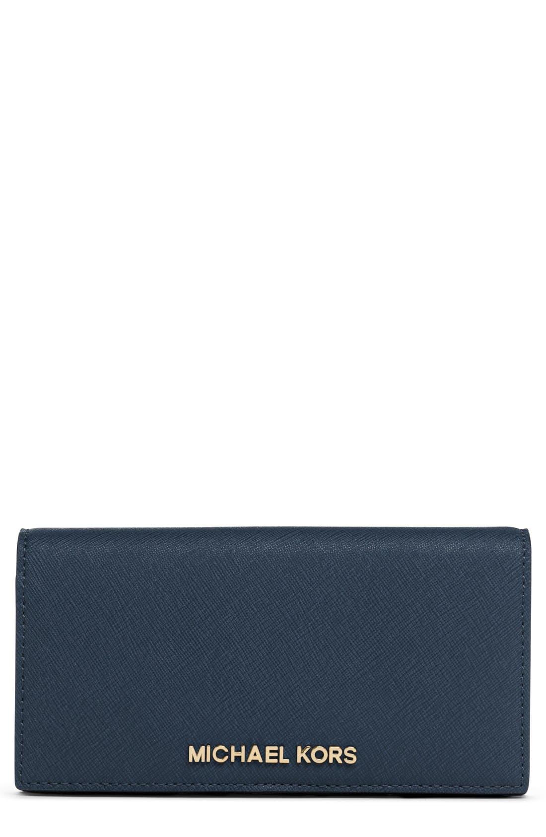 Main Image - MICHAEL Michael Kors 'Jet Set - Slim' Saffiano Leather Wallet