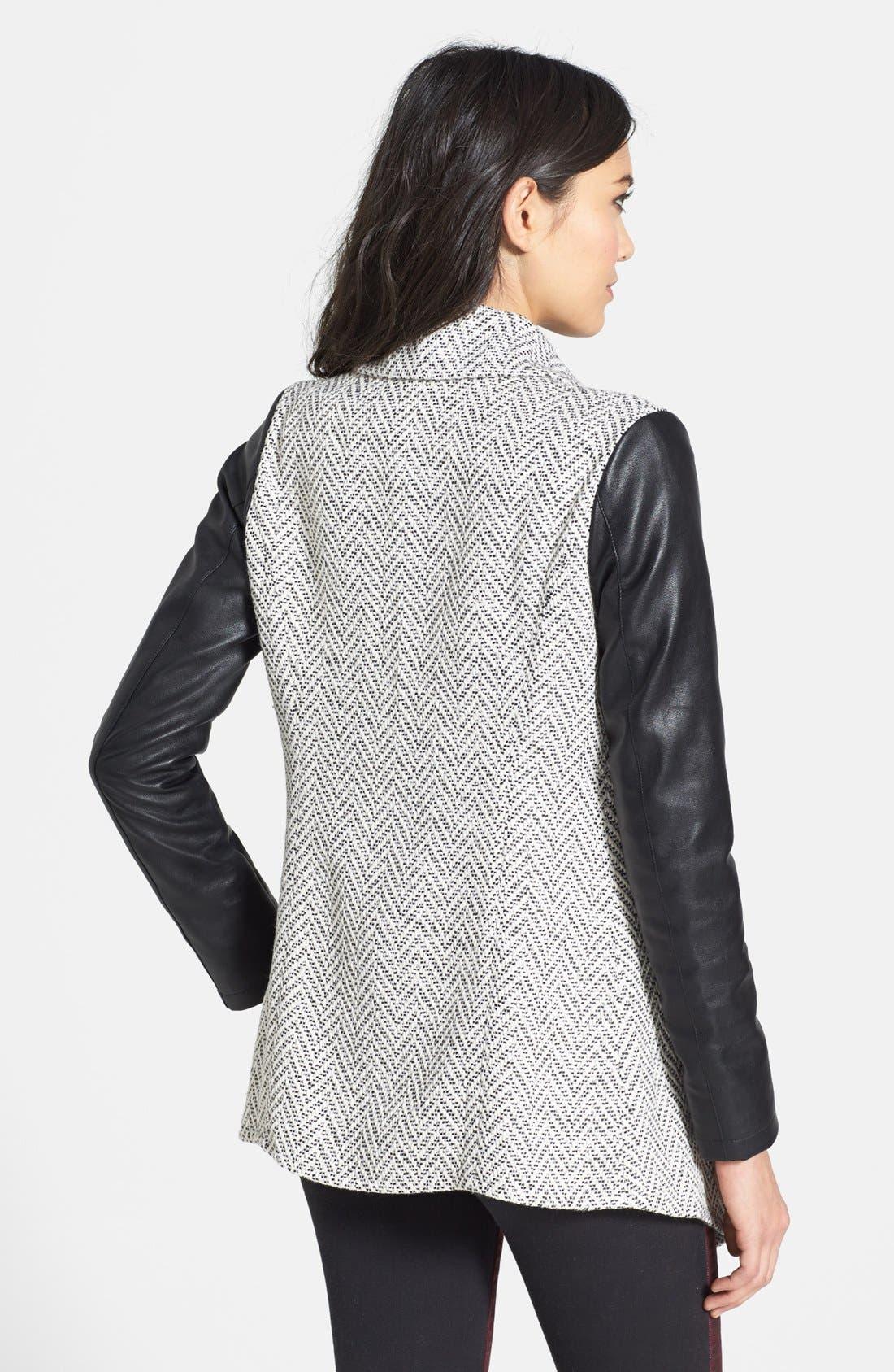 Alternate Image 2  - Glamorous Faux Leather Sleeve Knit Jacket