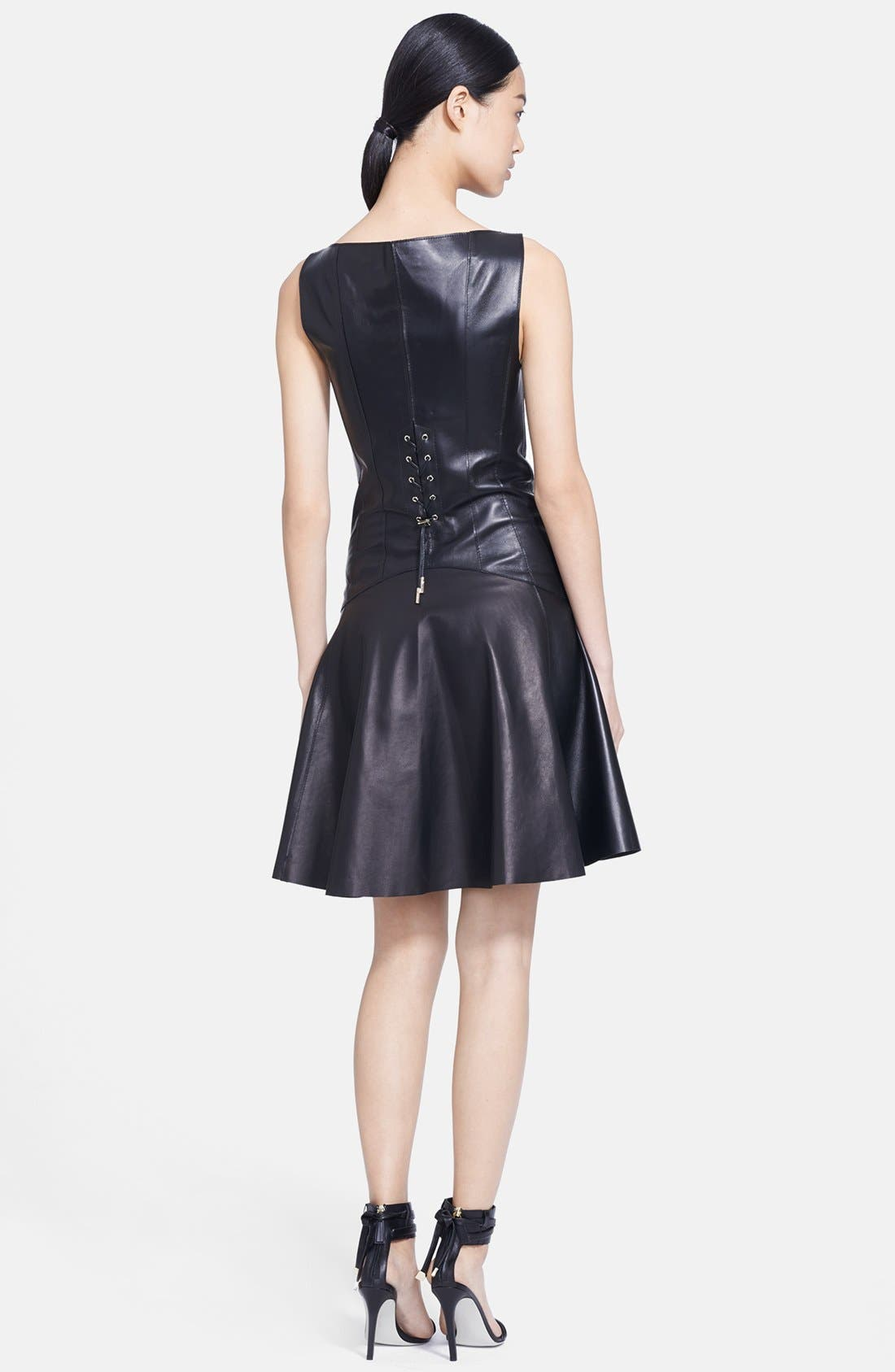 Alternate Image 2  - Jason Wu Corset Back Leather Dress