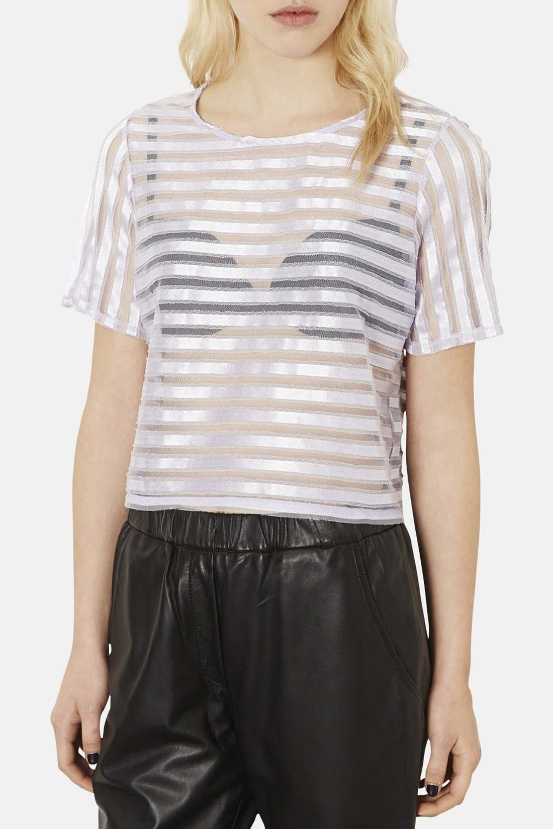 Alternate Image 1 Selected - Topshop Stripe Mesh Appliqué Tee