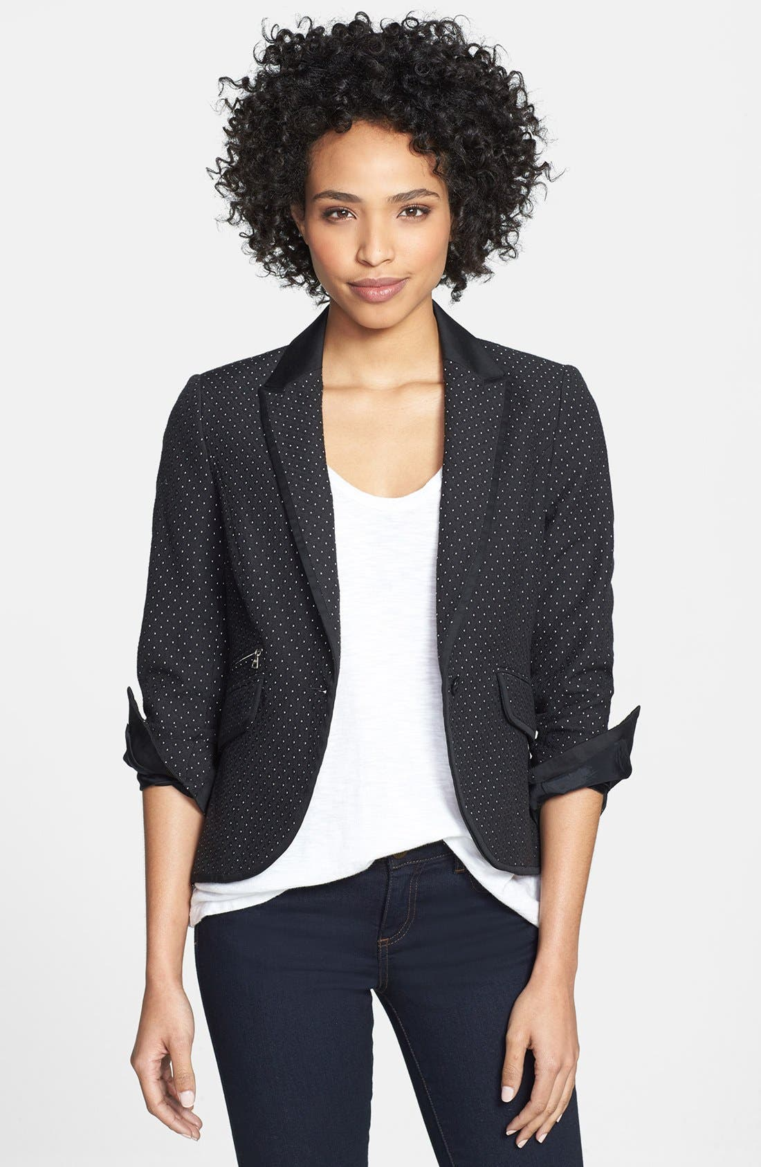 Alternate Image 1 Selected - Adrianna Papell Contrast Trim Jacquard Jacket