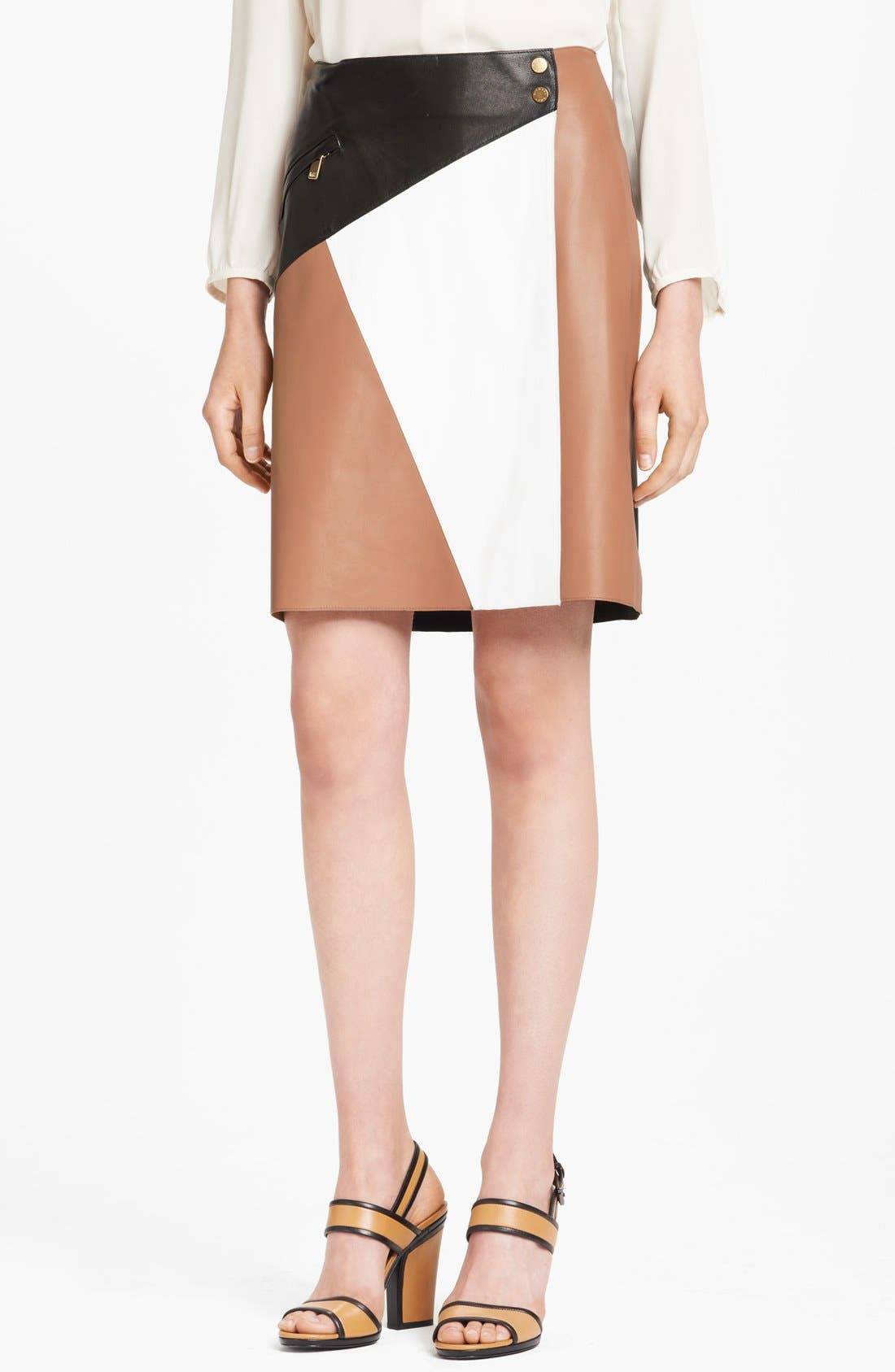 Alternate Image 1 Selected - Michael Kors Colorblock Leather Wrap Skirt