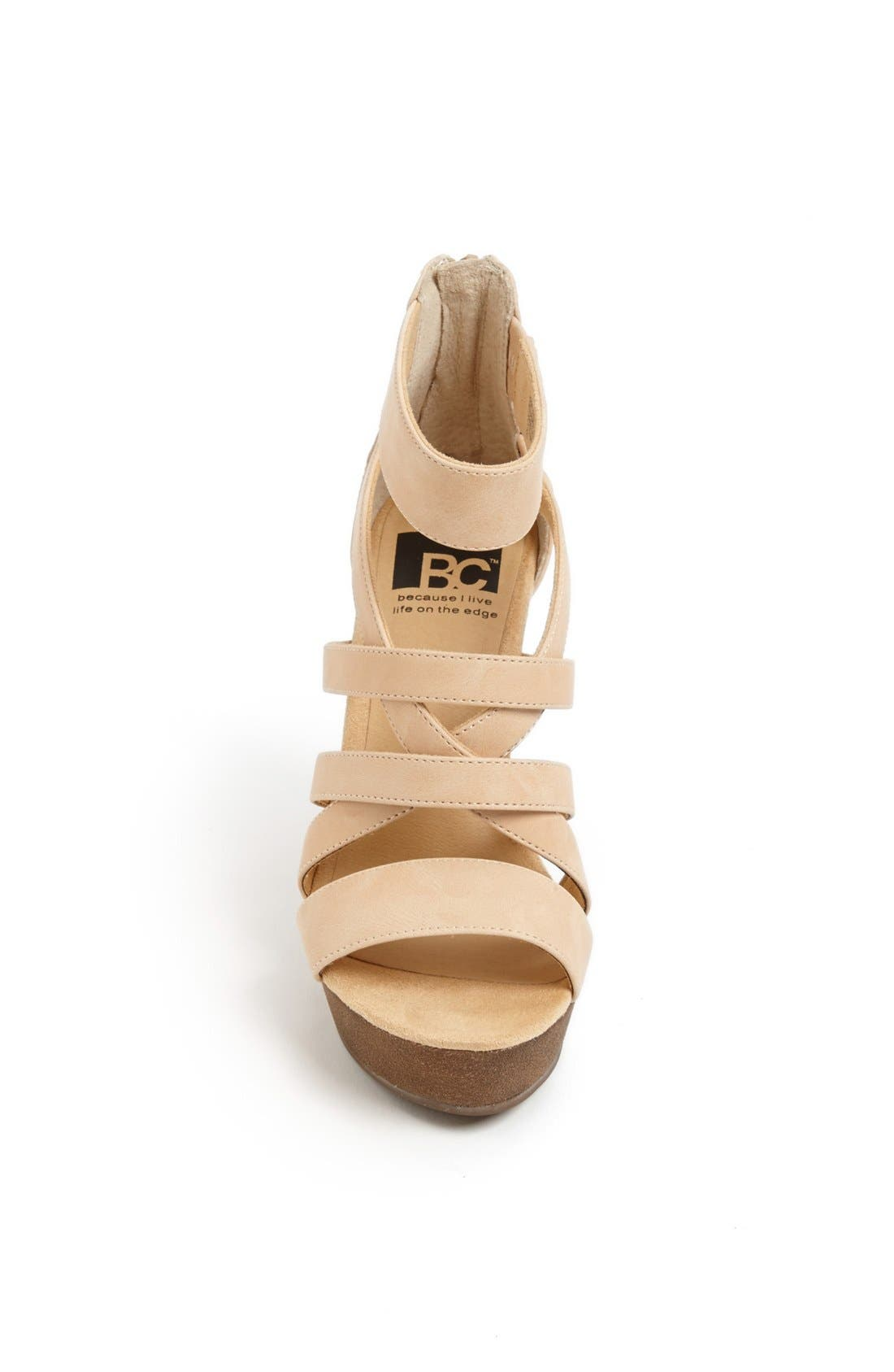'Tell You What' Wedge Sandal,                             Alternate thumbnail 3, color,                             Nude