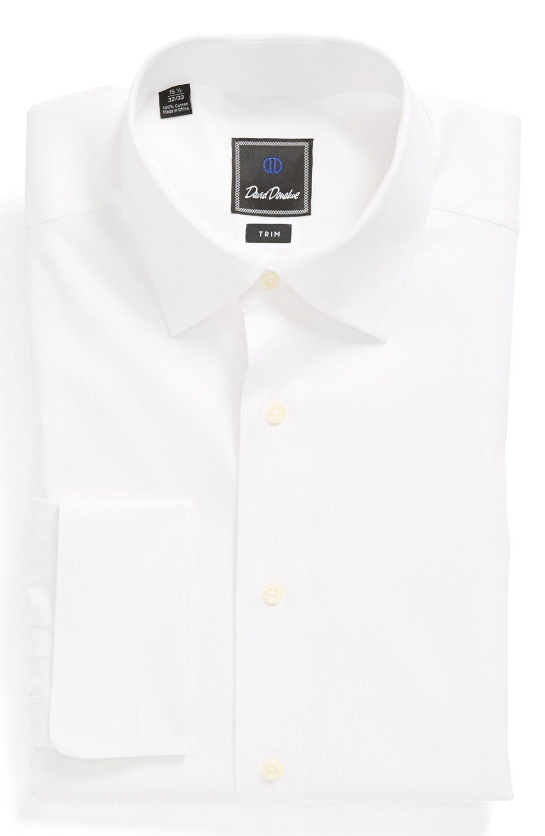 Main Image - David Donahue French Cuff Trim Fit Dress Shirt