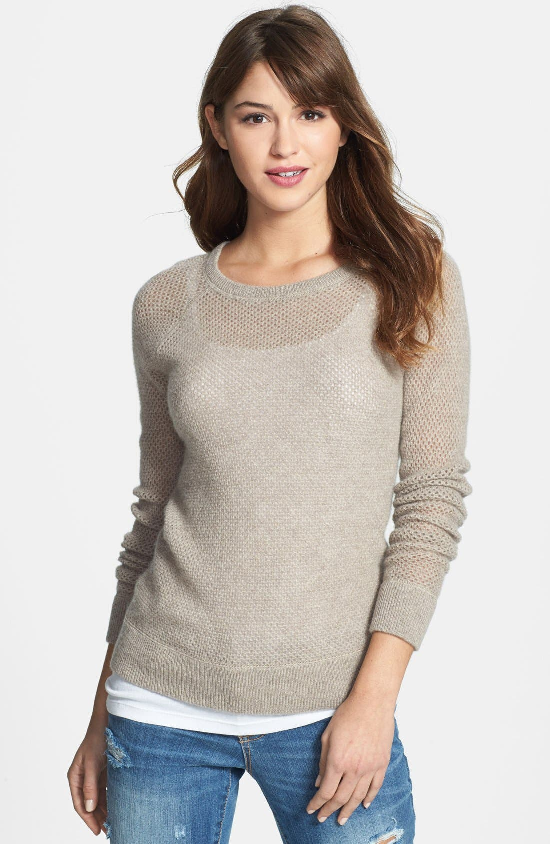 Alternate Image 1 Selected - Halogen® Open Stitch Cashmere Sweater
