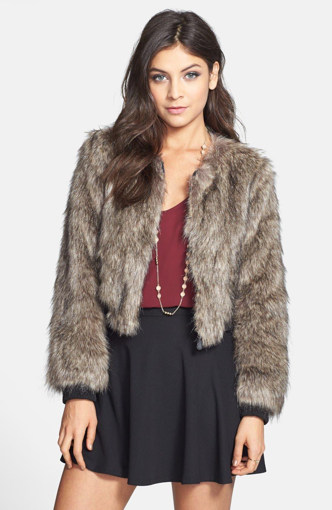 Main Image - Cecico Faux Fur Coat (Juniors)
