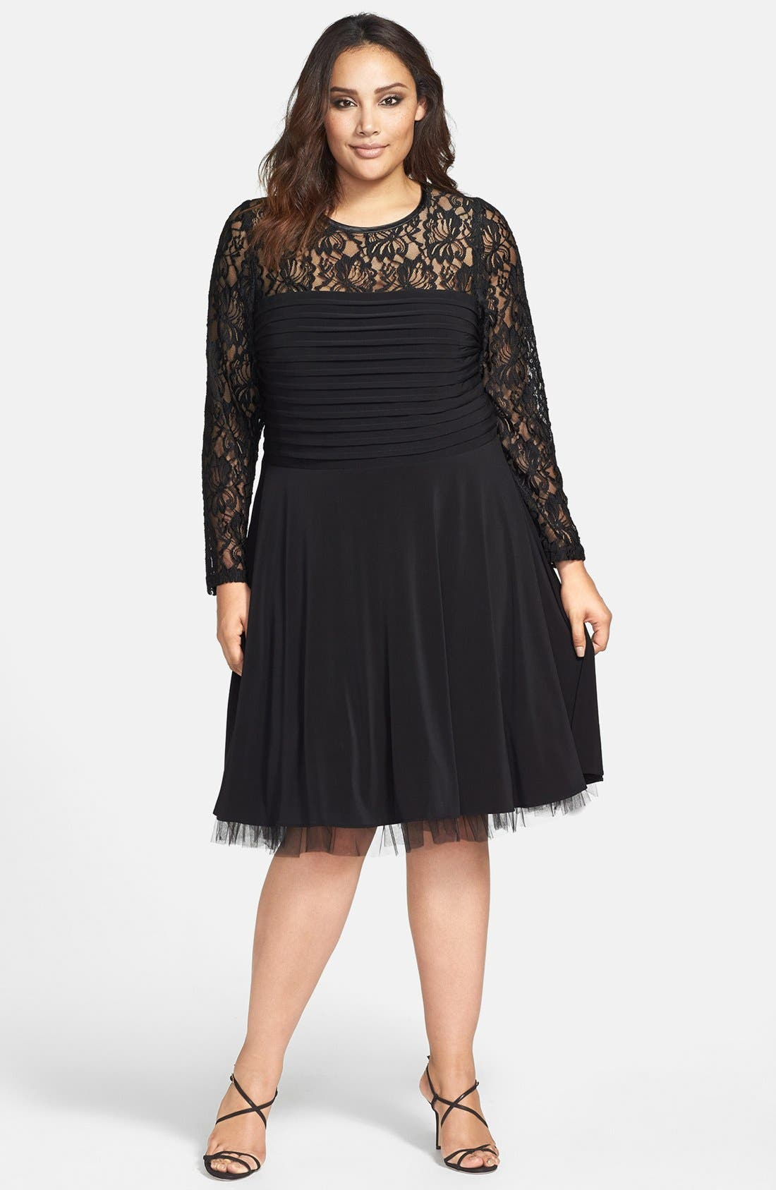 Main Image - Betsy & Adam Lace Overlay Fit & Flare Dress (Plus Size)