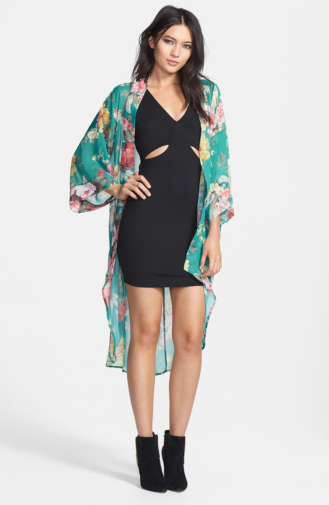 Alternate Image 1 Selected - Crash and Burn 'Marie' Floral Chiffon Cardigan