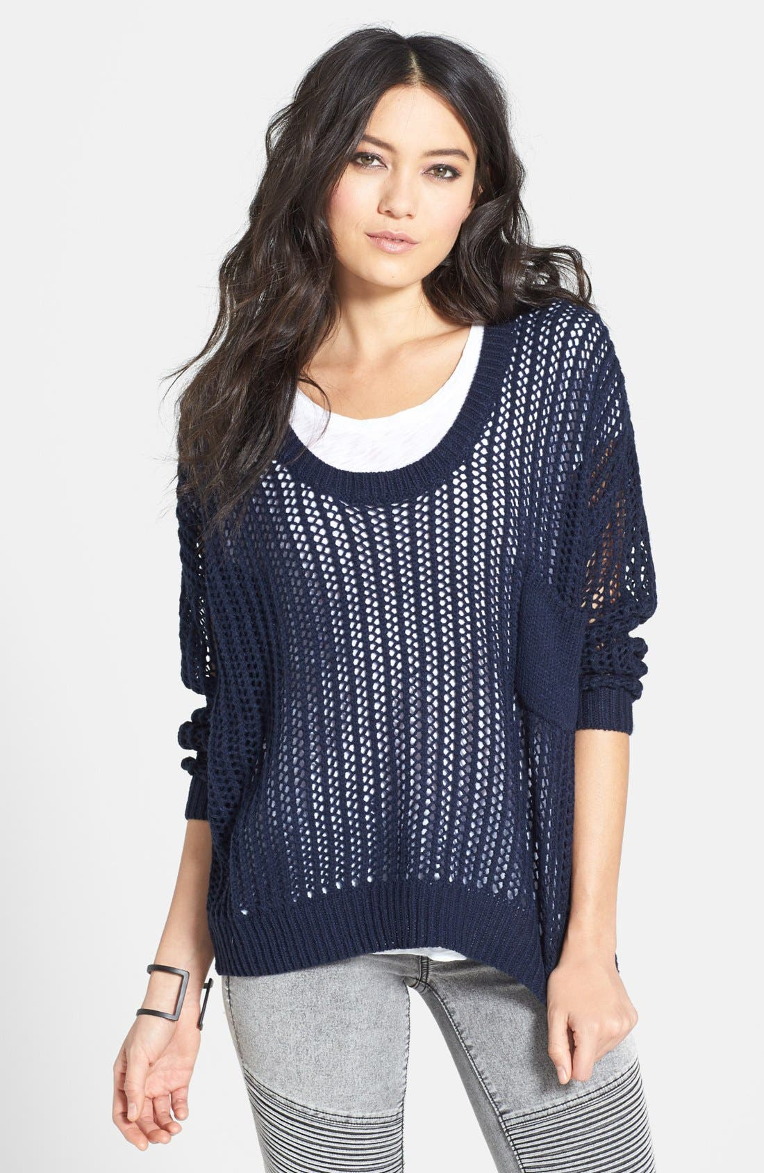 Alternate Image 1 Selected - Uniq Open Knit Pullover