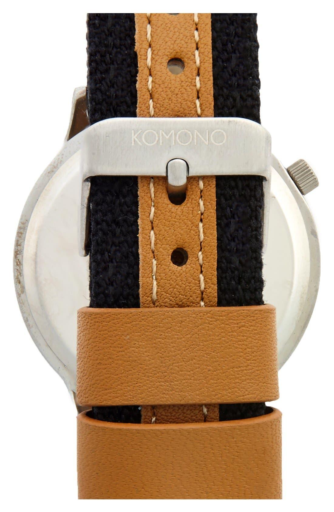 Alternate Image 2  - Komono 'Wizard' Round Dial Strap Watch, 45mm