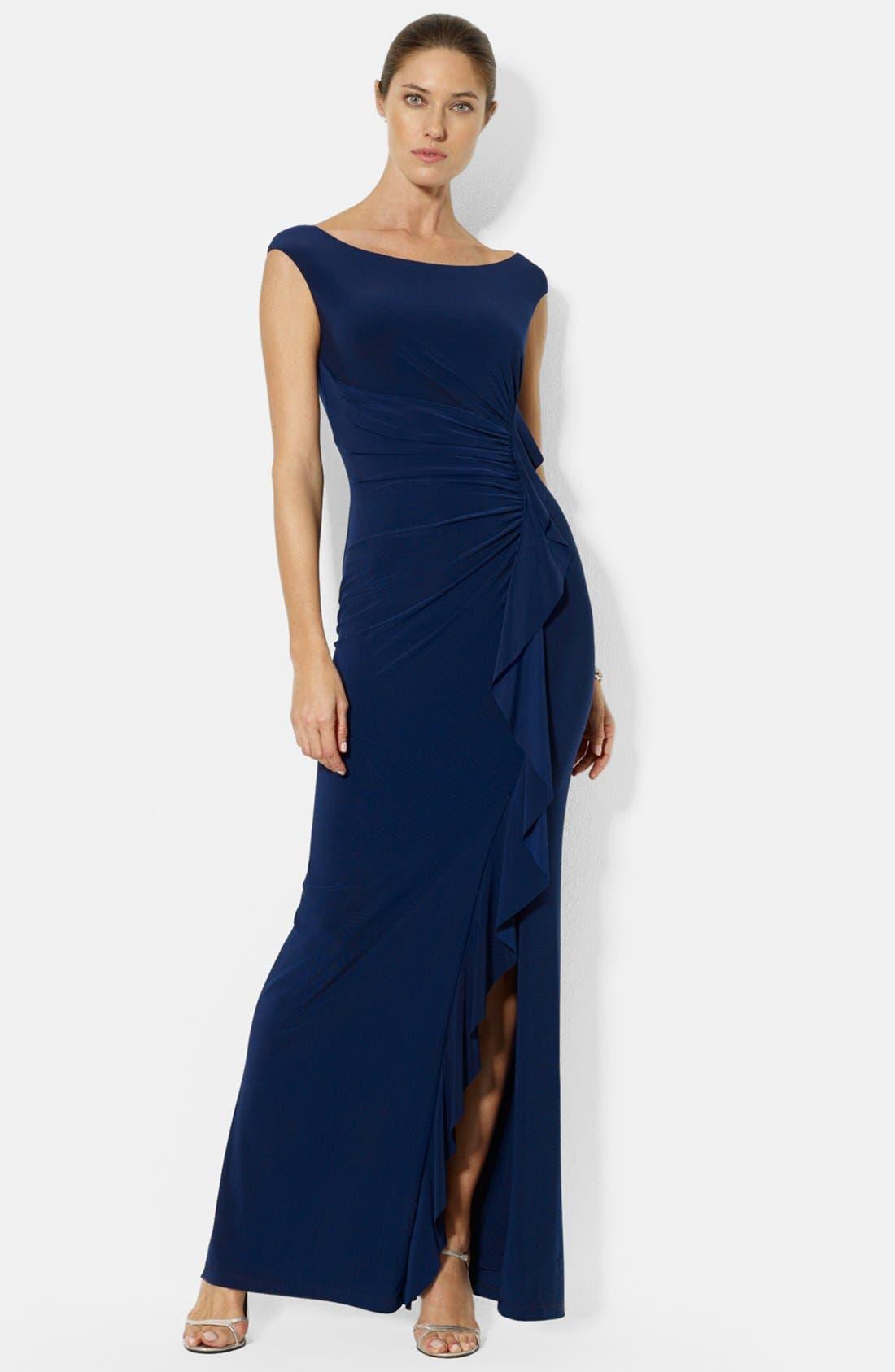 Main Image - Lauren Ralph Lauren Ruffle Matte Jersey Gown