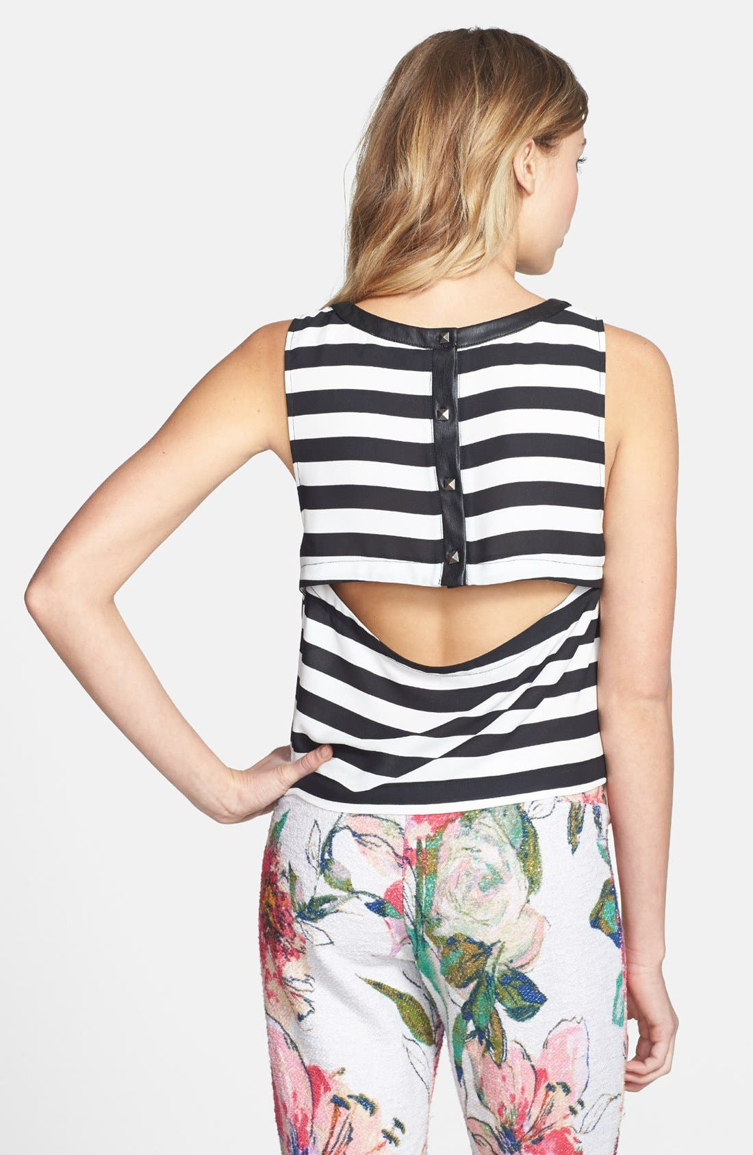 Alternate Image 2  - ASTR Back Button Stripe Tank