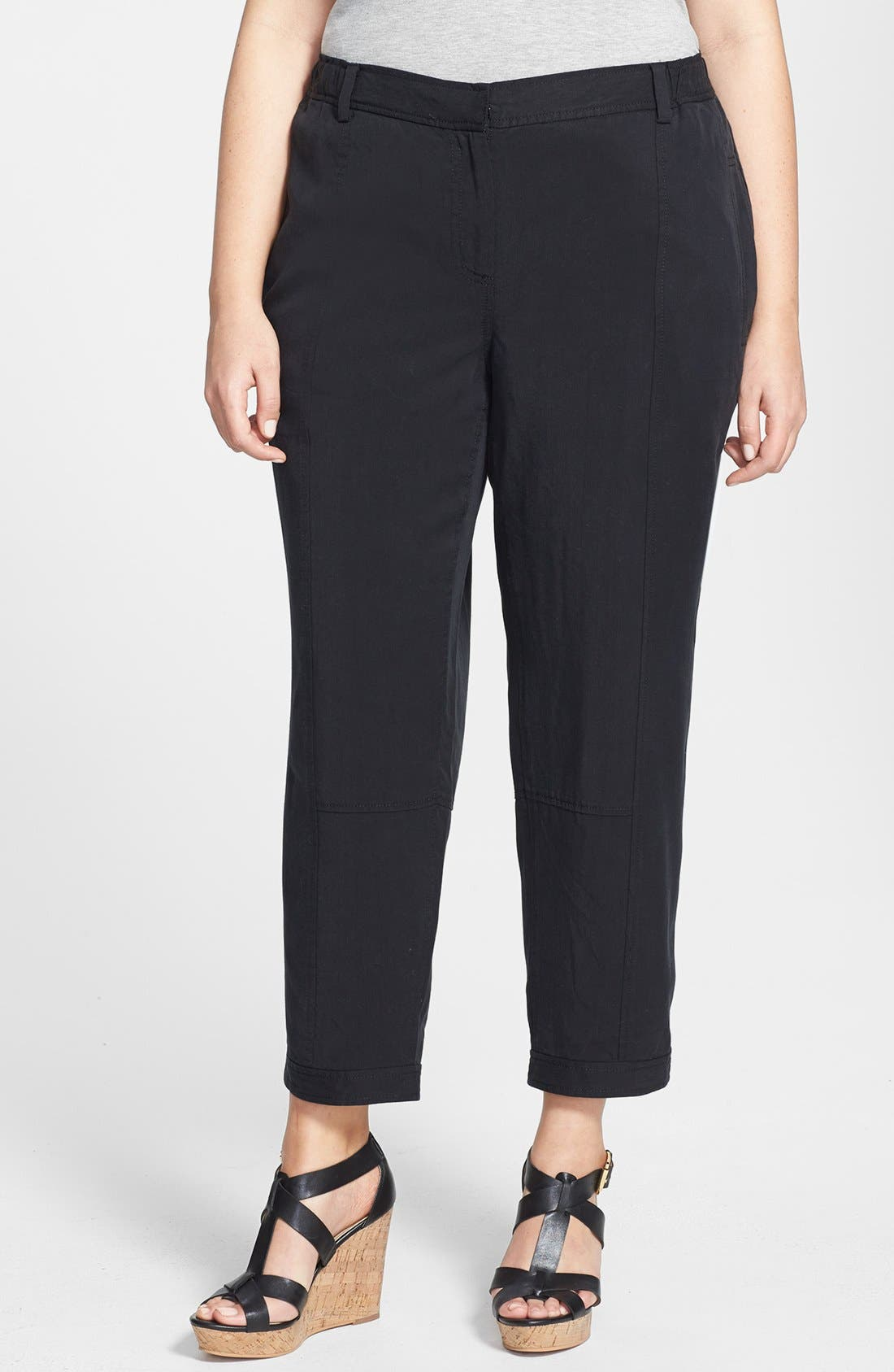 Alternate Image 1 Selected - Eileen Fisher Tencel® Ankle Pants (Plus Size)