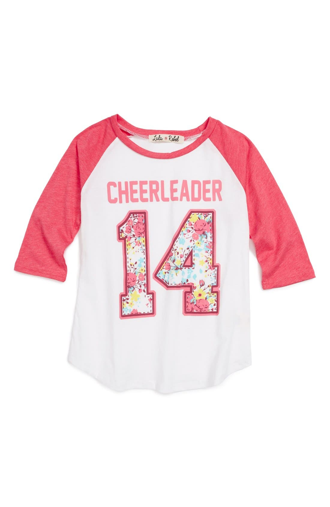 Alternate Image 1 Selected - Lala Rebel 'Cheerleader' Tee (Toddler Girls)