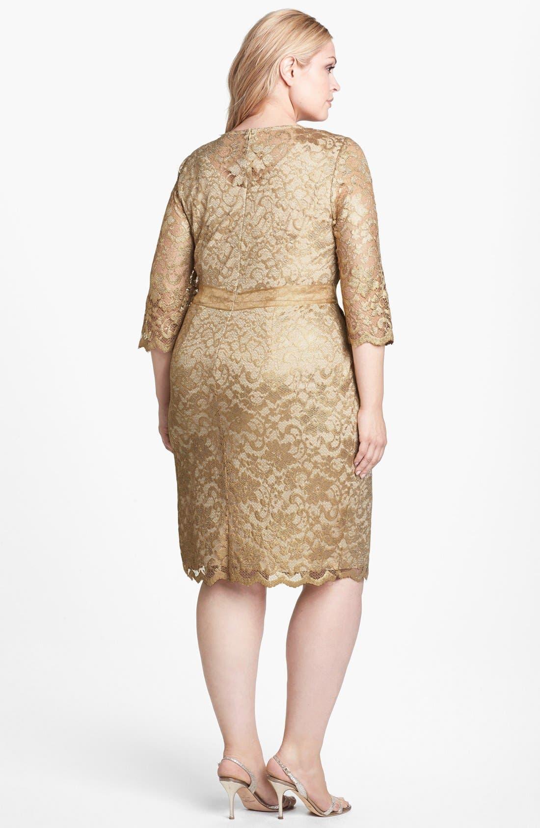 Alternate Image 2  - Alex Evenings Metallic Lace Dress (Plus Size)