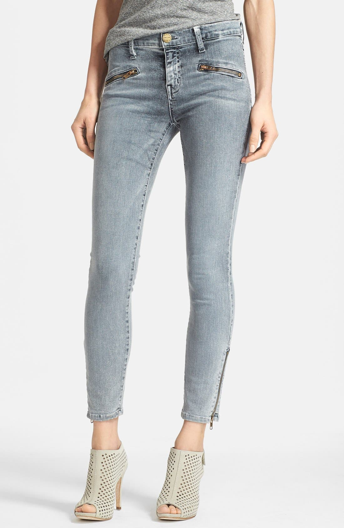 Alternate Image 1 Selected - Current/Elliott 'The Soho' Zip Stiletto Skinny Jeans (Bleach Out Navy)