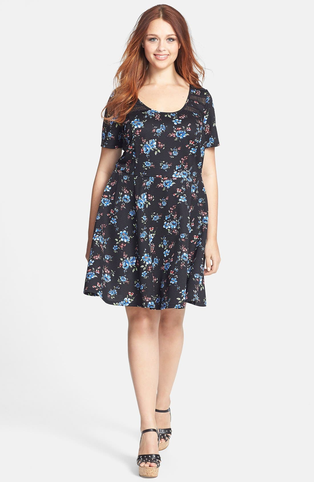 Main Image - Jessica Simpson 'Reese' Fit & Flare Dress (Plus Size)