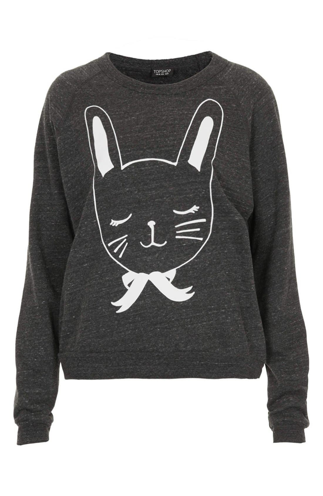 Alternate Image 3  - Topshop Bunny Print Knit Sweatshirt