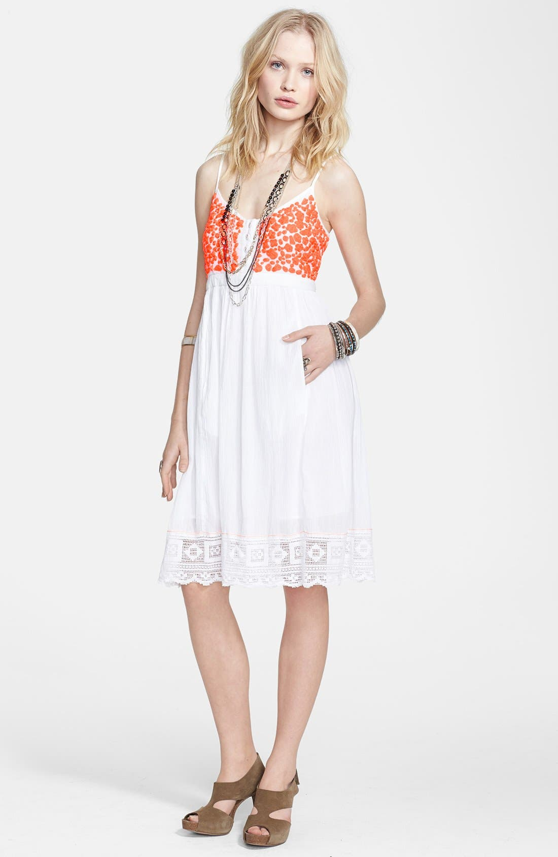 Main Image - Free People 'Cloud Watching' Cotton Voile Babydoll Dress