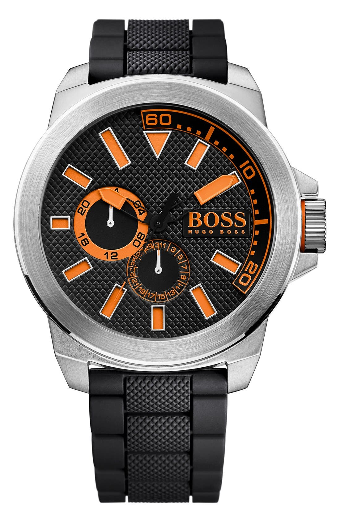 Alternate Image 1 Selected - BOSS Orange Multifunction Silicone Strap Watch, 50mm