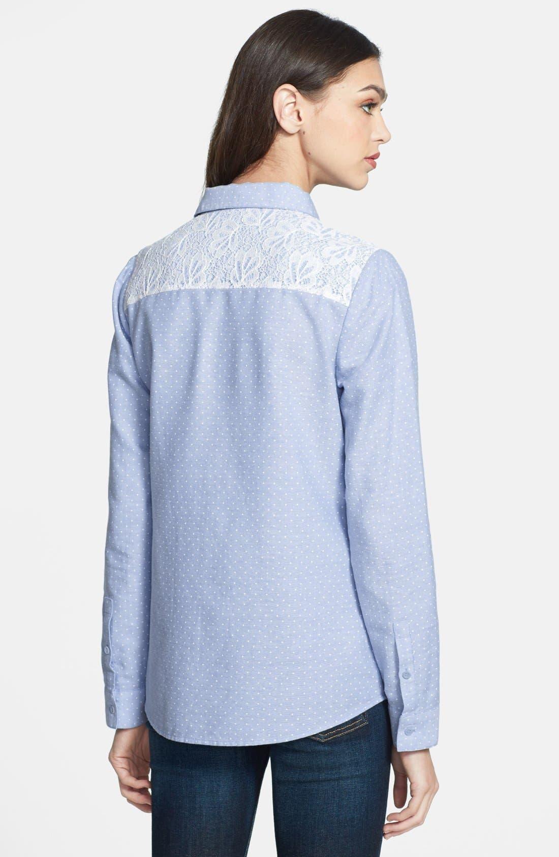 Alternate Image 2  - Hinge® Lace Yoke Dot Print Shirt