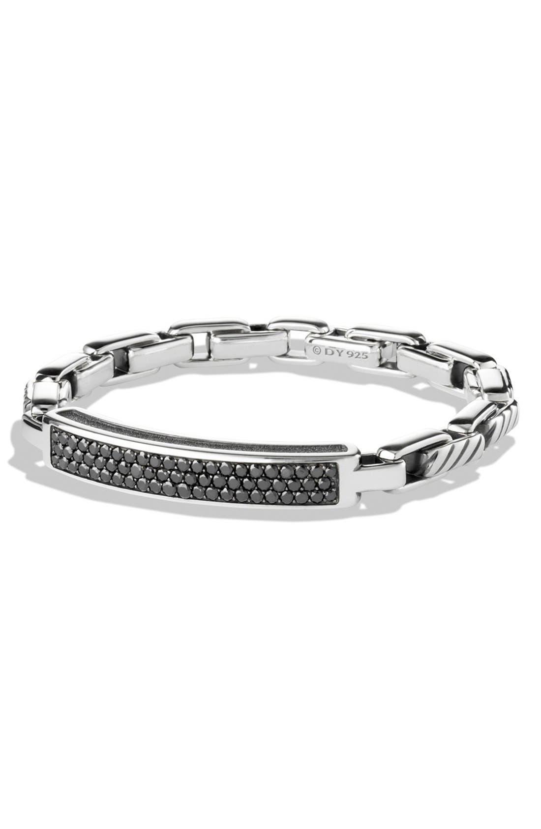 Alternate Image 1 Selected - David Yurman 'Modern Cable' ID Bracelet with Black Diamonds
