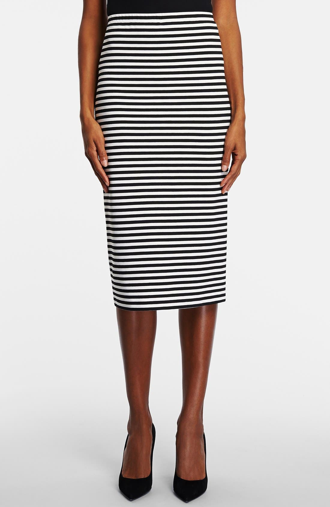 Main Image - Lafayette 148 New York Stripe Stretch Knit Long Pencil Skirt