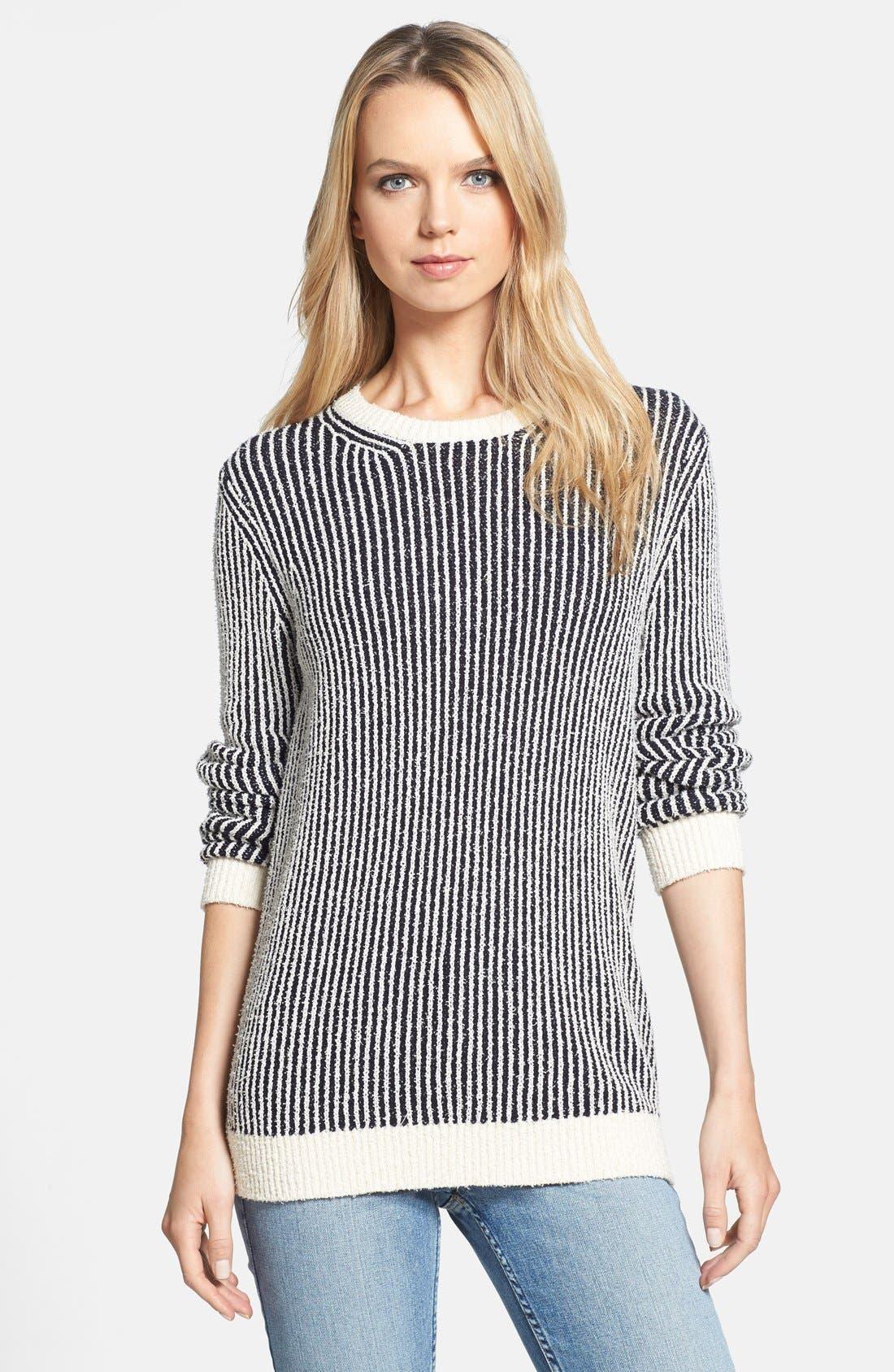 Main Image - Theory 'Jaidyn SN' Textured Stripe Sweater