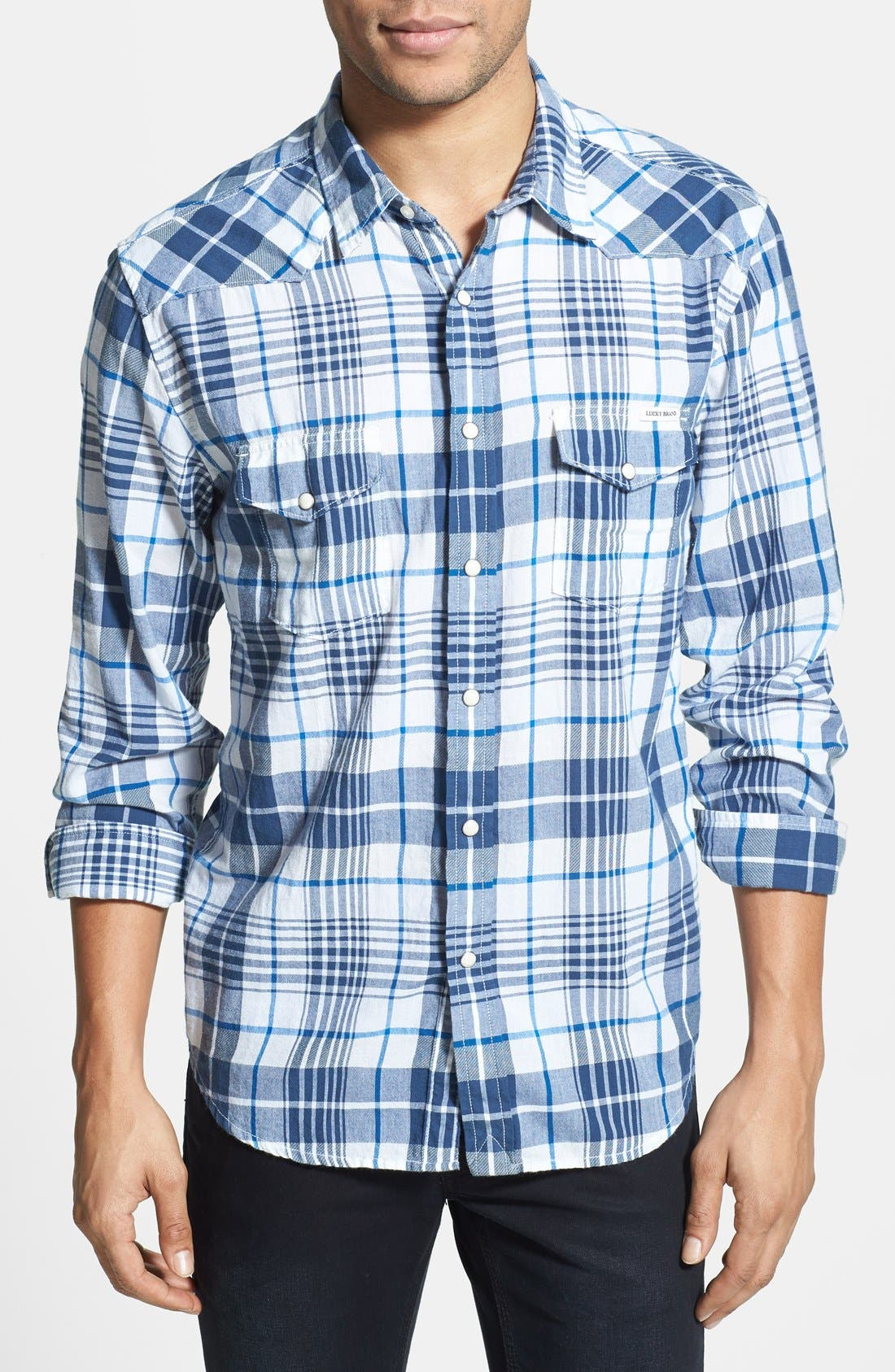 Alternate Image 1 Selected - Lucky Brand 'Hammond' Plaid Poplin Western Shirt
