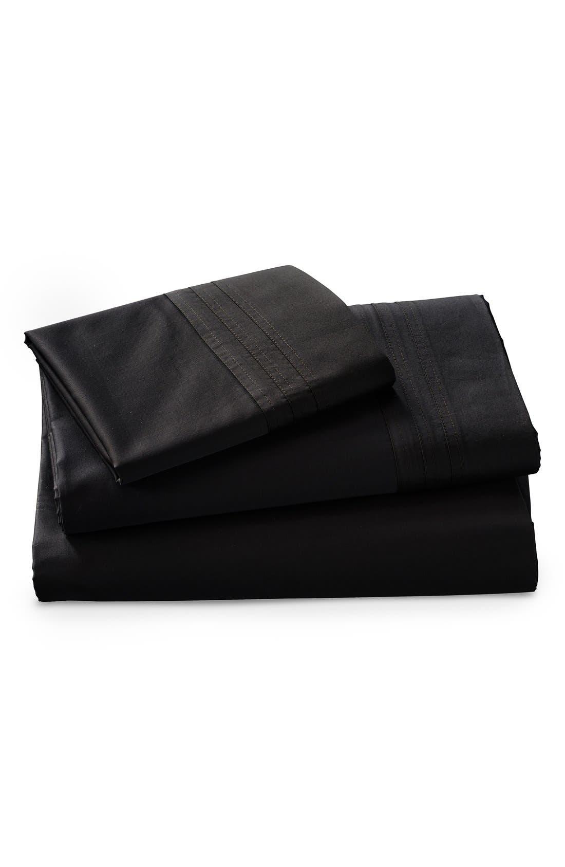 Donna Karan Collection 510 Thread Count Flat Sheet,                         Main,                         color, Ebony Black