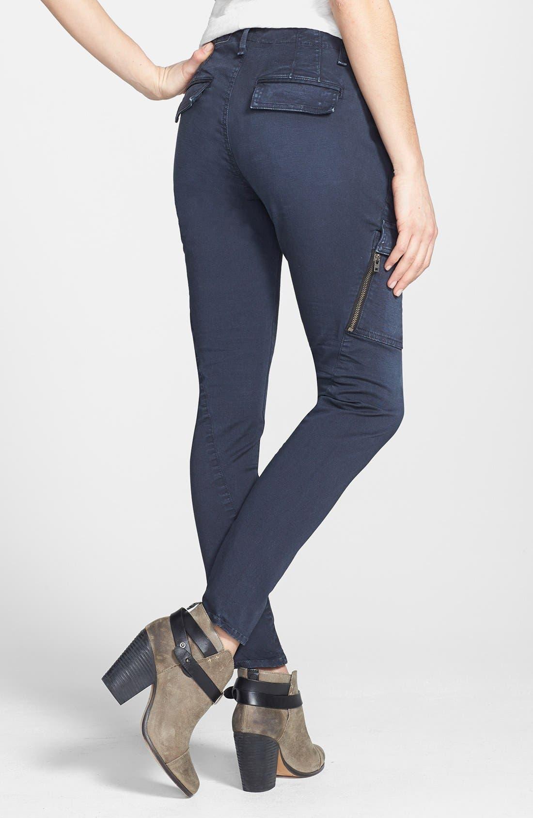 Alternate Image 2  - rag & bone/JEAN 'Bowery' Cargo Skinny Jeans (Distressed Navy)