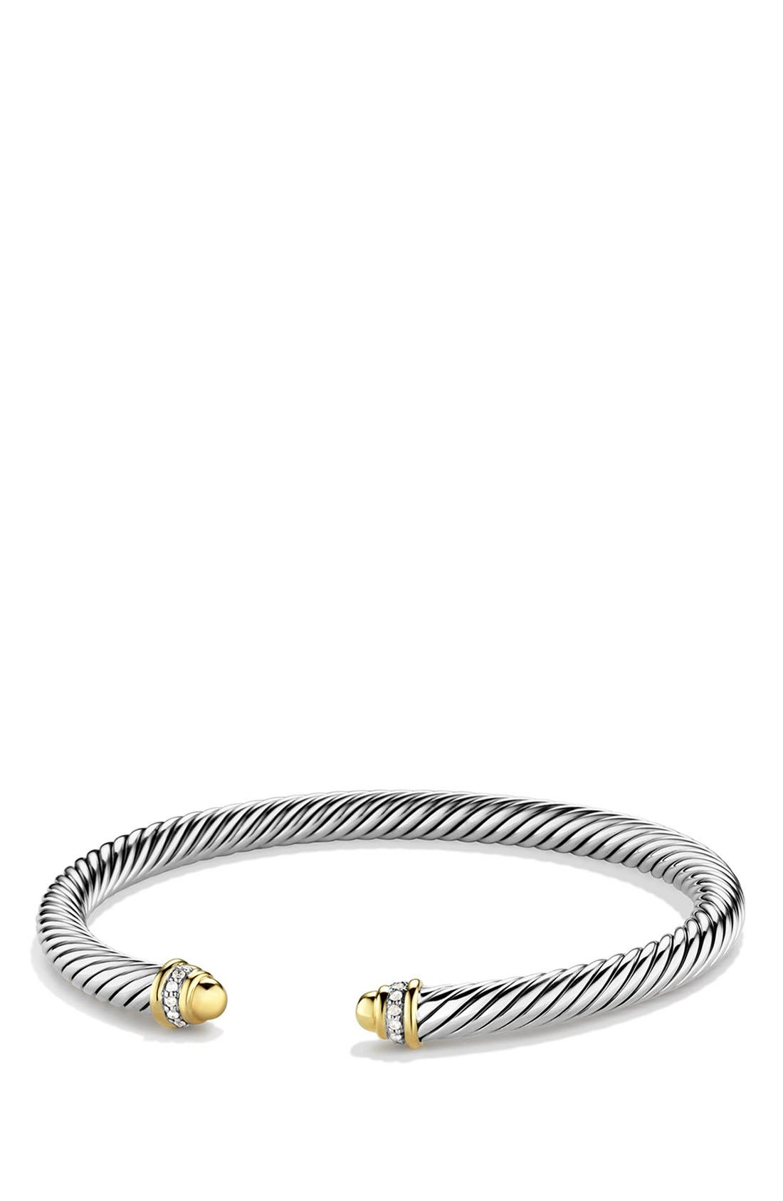 David Yurman 'Cable Classics' Bracelet with Gold Domes and Diamonds